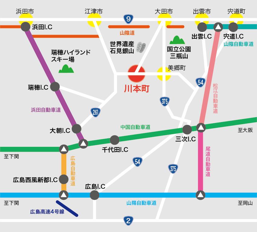 ステーションかわもと 道路案内図